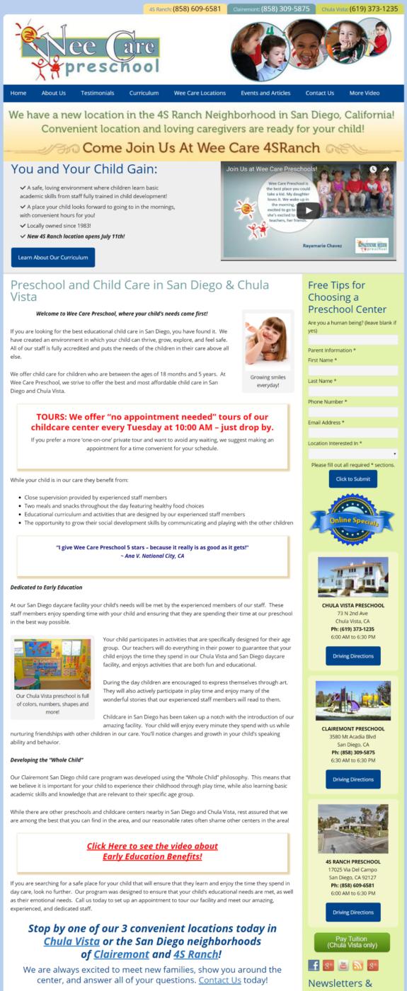 Chula Vista Video Testimonials | Wee Care Preschool